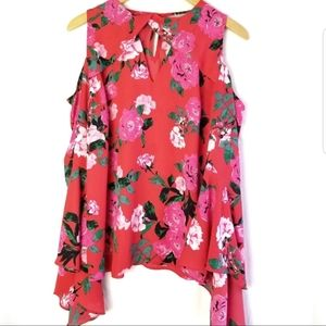 Red Floral Cold Shoulder Bell Sleeve Ruffle Blouse